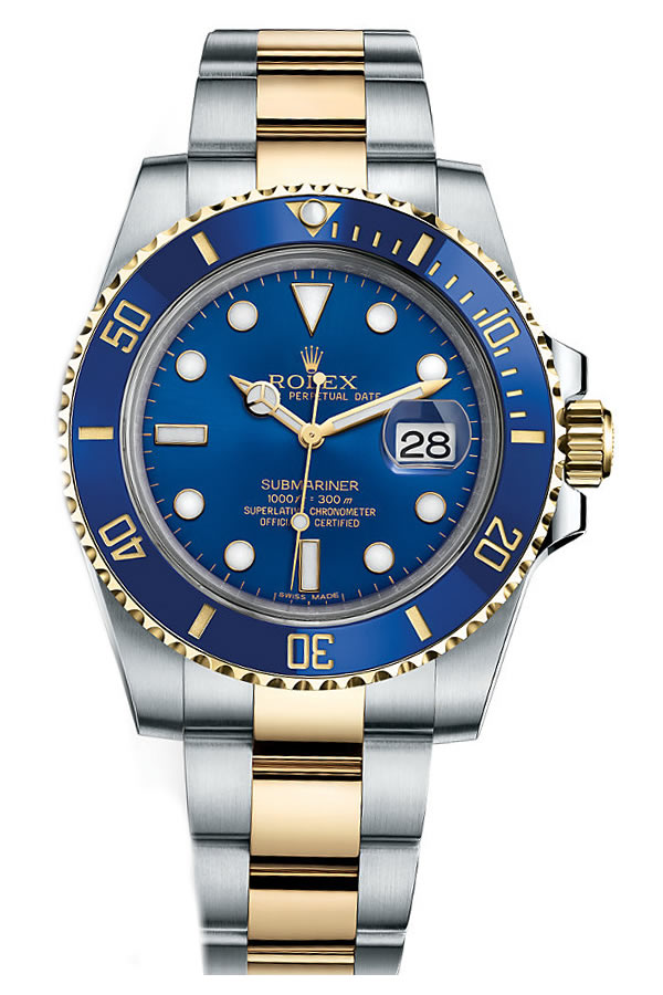 Fake Rolex Submariner Blue dial, Steel and Gold