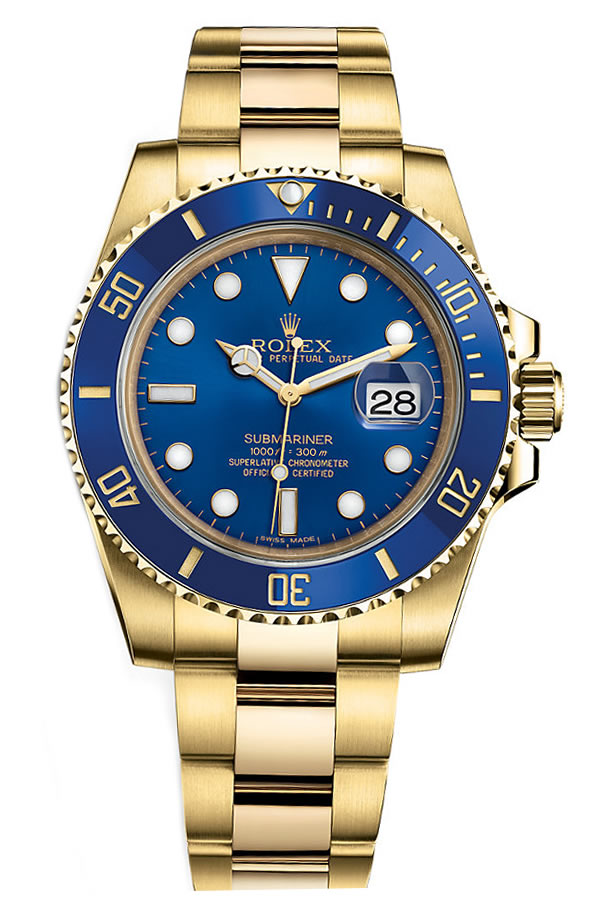 Fake Rolex Submariner All Gold Blue