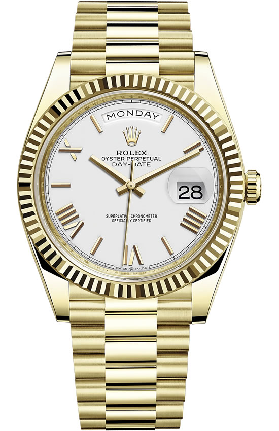 Fake Rolex Day-Date All Gold White